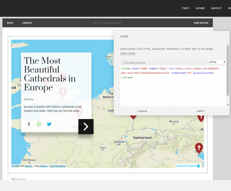 Embed your interactive map in a Squarespace website – Mapme on xml code, time code, embed code, twitter code, em code, map code, json code, area code, silverlight code, style code, java code, mii code, jquery code,