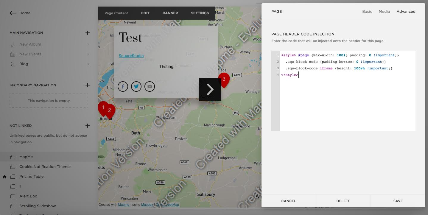 Embed your interactive map in a Squarespace website – Mapme